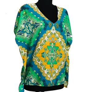 Ellen Tracy V-Neck Top Seamless Damask Blue Green